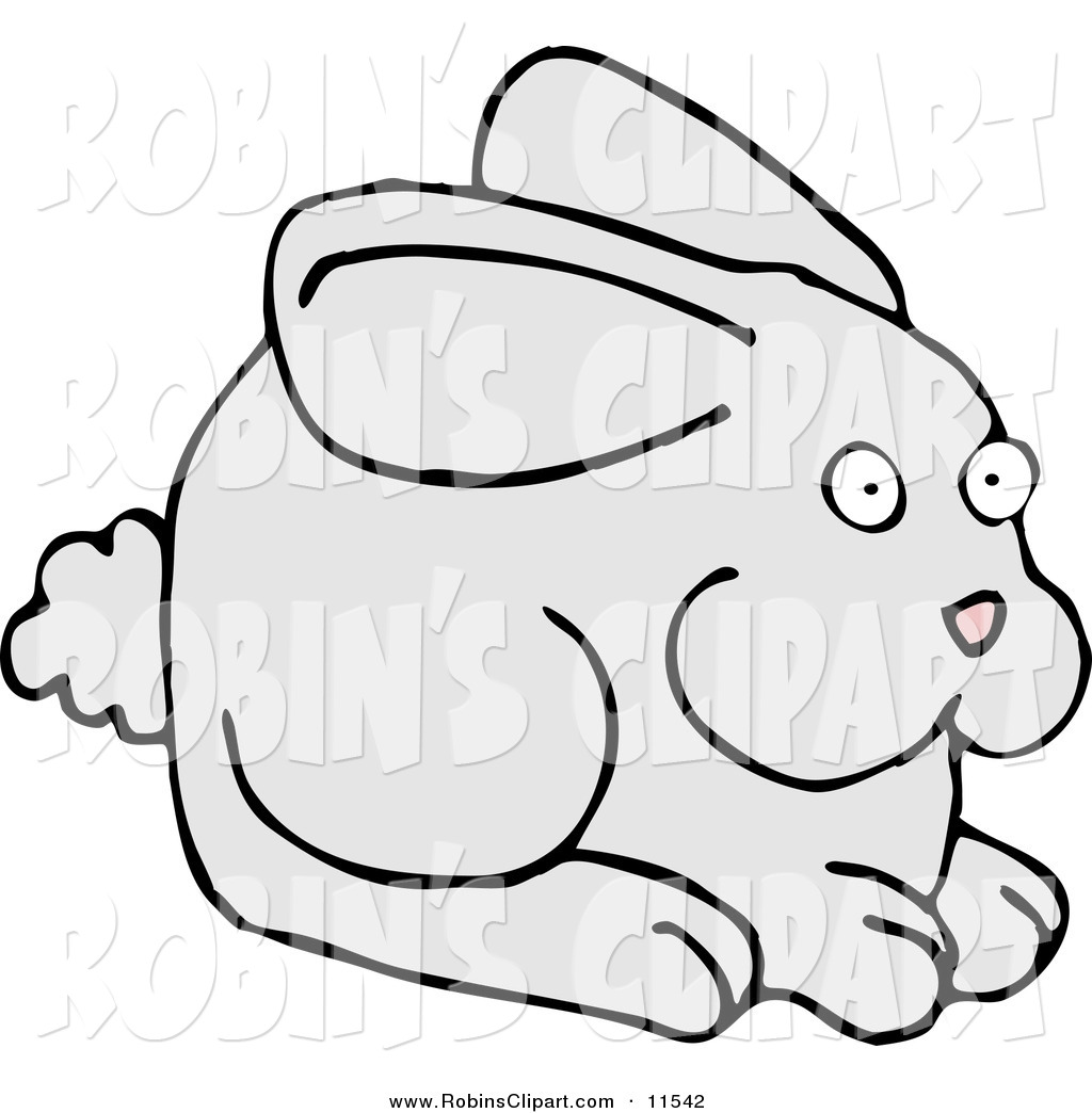 Larger Preview  Clip Art Of A Cute And Alert Gray Bunny With A Puffy