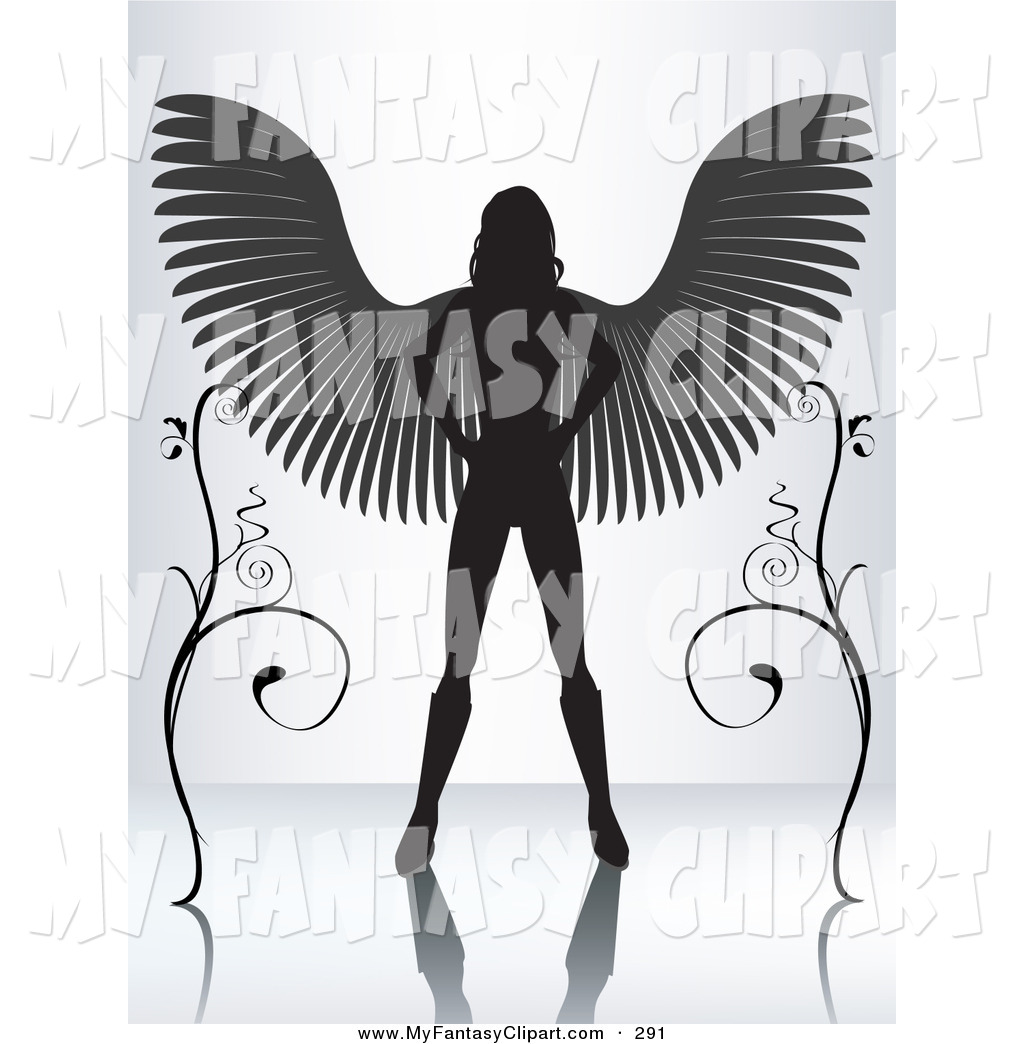 Larger Preview  Clip Art Of A Silhouetted Female Angel Standing With