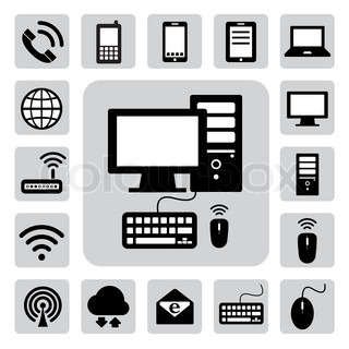 Mobile Devices  Computer And Network Connections Icons Set