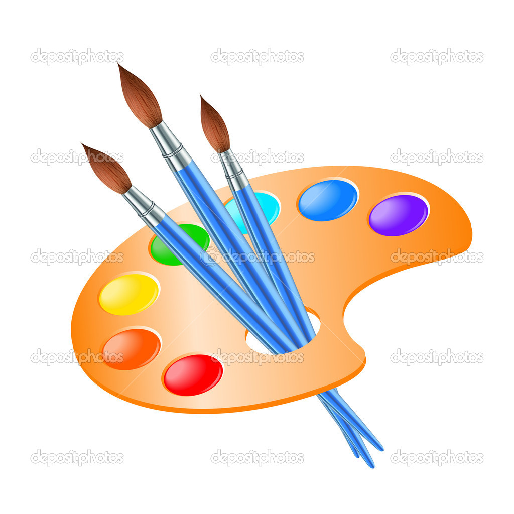 Paint Brush Vector Depositphotos 12581436 Art Palette With Paint Brush