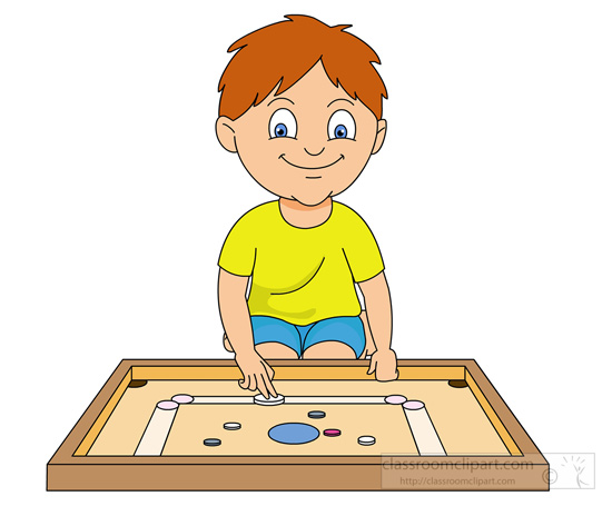 Recreation   Boy Playing Carrom Board   Classroom Clipart