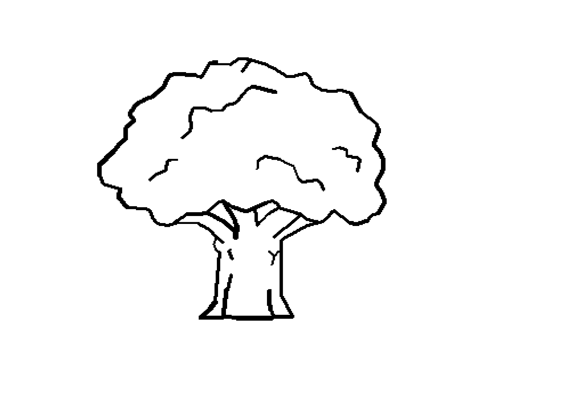 Tree Black White Line Art Coloring Book Colouring October 2011