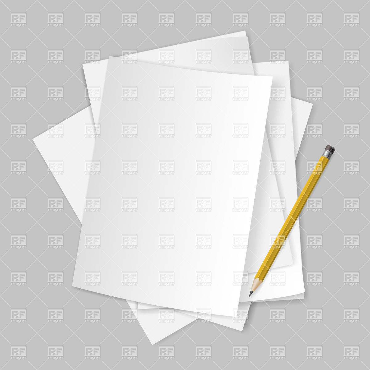 Pile Of Blank Papers With Pencil On Grey Background Download Royalty