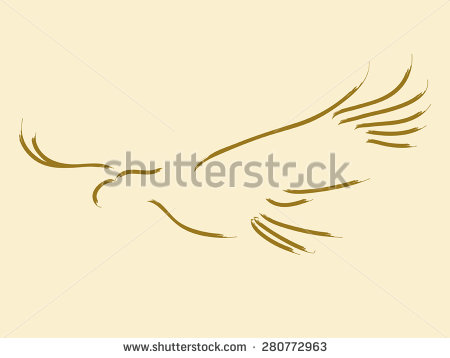 Simple Sketch Of A Soaring Eagle   Stock Vector