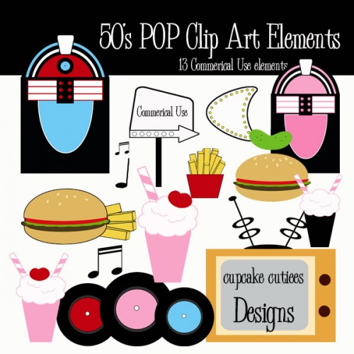 50s Pop Digital Clip Art Commerical Use Elements 1950 Clipart