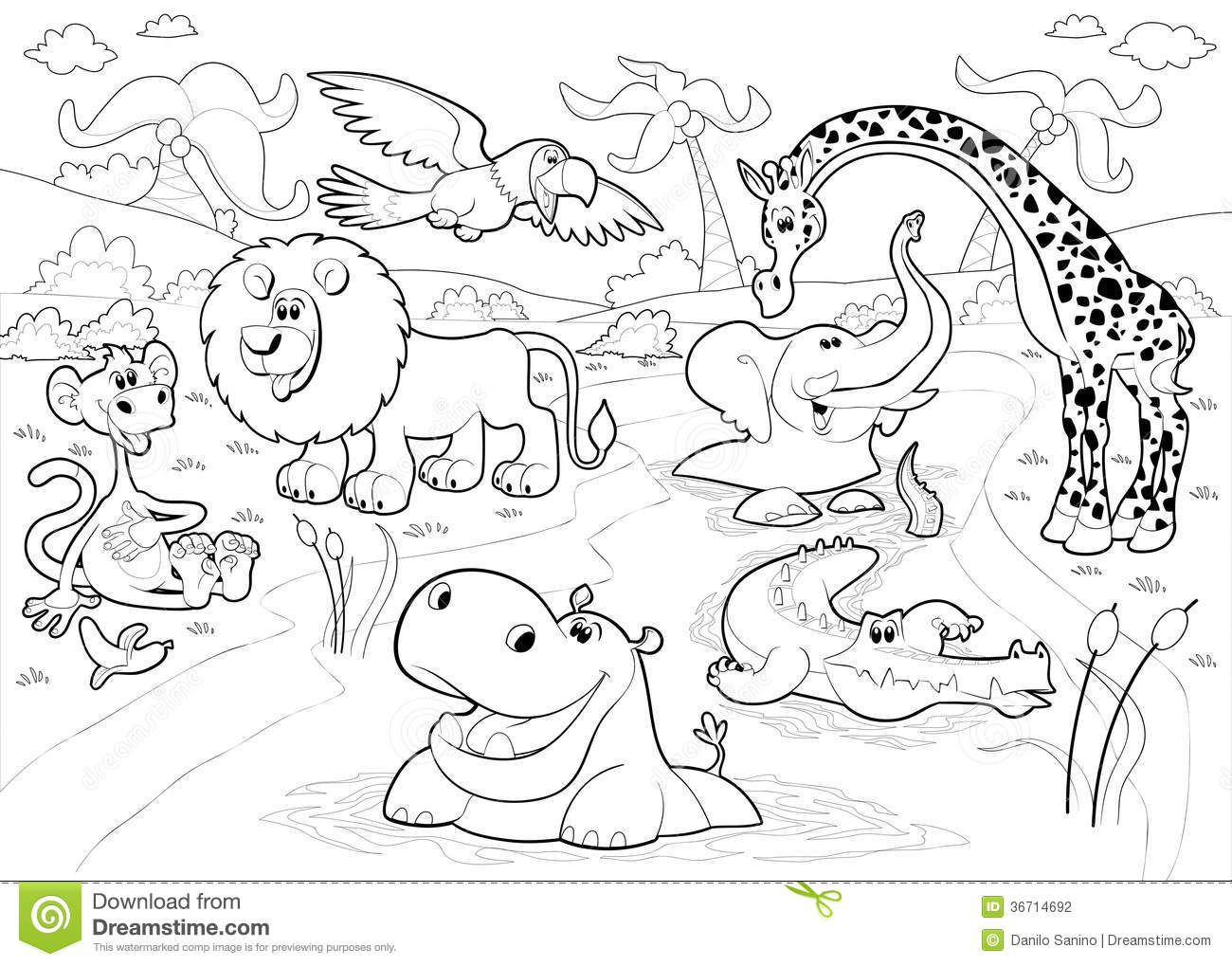 Line Art Jungle Animals : Jungle black and white clipart suggest