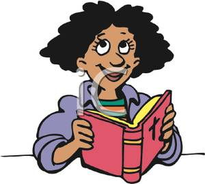An African American Woman Reading The Bible   Royalty Free Clipart