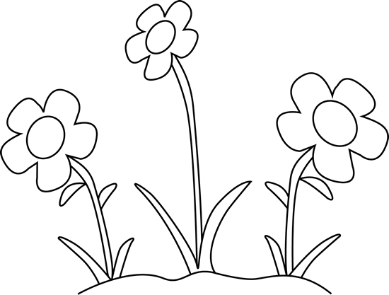 Black And White Flower Garden Clip Art   Black And White Flower Garden