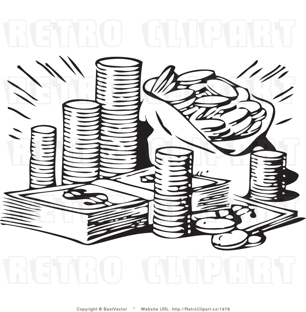 Black And White Money Clip Art