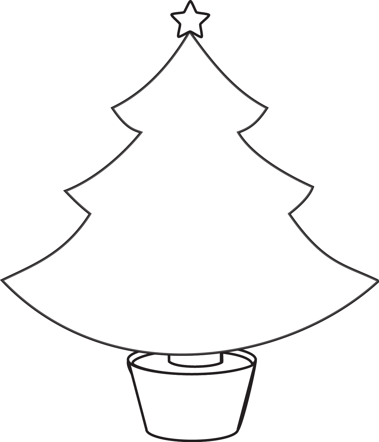 Christmas Tree Outline Printable Plain Christmas Tree