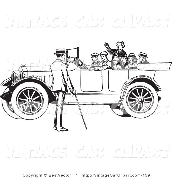 Clipart Of A Family In A Retro Black And White Vintage Convertible Car