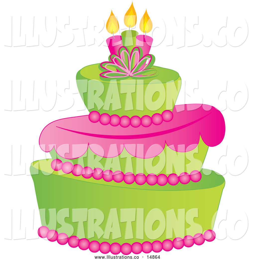 December 6th 2013 Green And Pink Fondant Cake With Birthday Candles