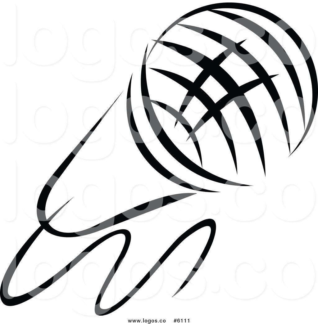 Free Clip Art Vector Logo Of A Black And White Singer Microphone