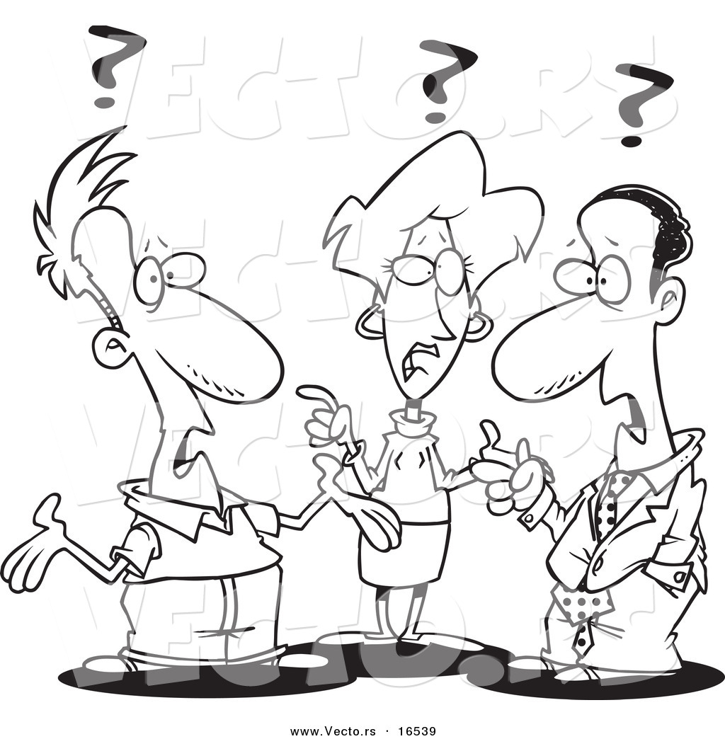 Group Of Confused Business People   Outlined Coloring Page Drawing