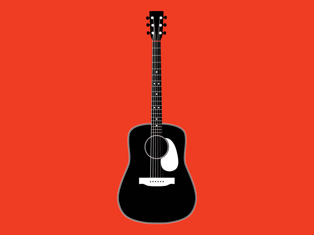 Guitar Clipart Black And White Freevector Black And White Guitar Jpg