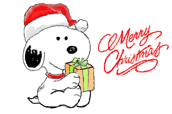 Merry Christmas Gifts In Snoopy Hands With Santa Hat Clip Art Image