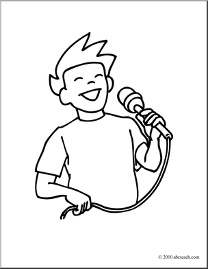 Of 1 Clip Art Boy Singing Coloring Page Coloring Page Music Black