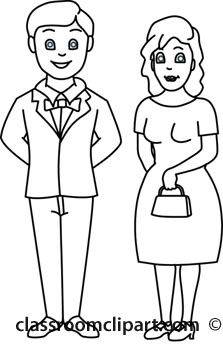 People   Family Husband Wife 12412 Outline   Classroom Clipart