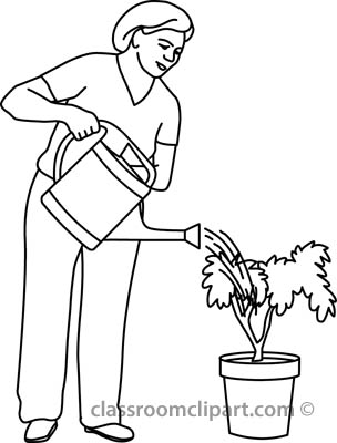 Watering plants clipart black and white