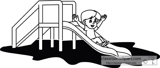 School   Boy Going Down Playground Slide Outline   Classroom Clipart