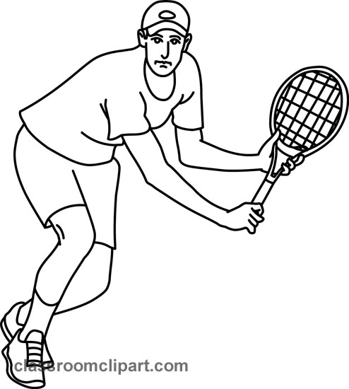 Sports   Tennis Forehand 05 Outline   Classroom Clipart