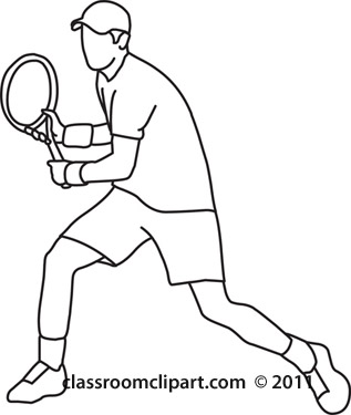 Sports   Tennis Player Back Hand Stroke Black   Classroom Clipart