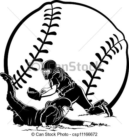 Vectors Illustration Of Softball Slide   Black And White Vector