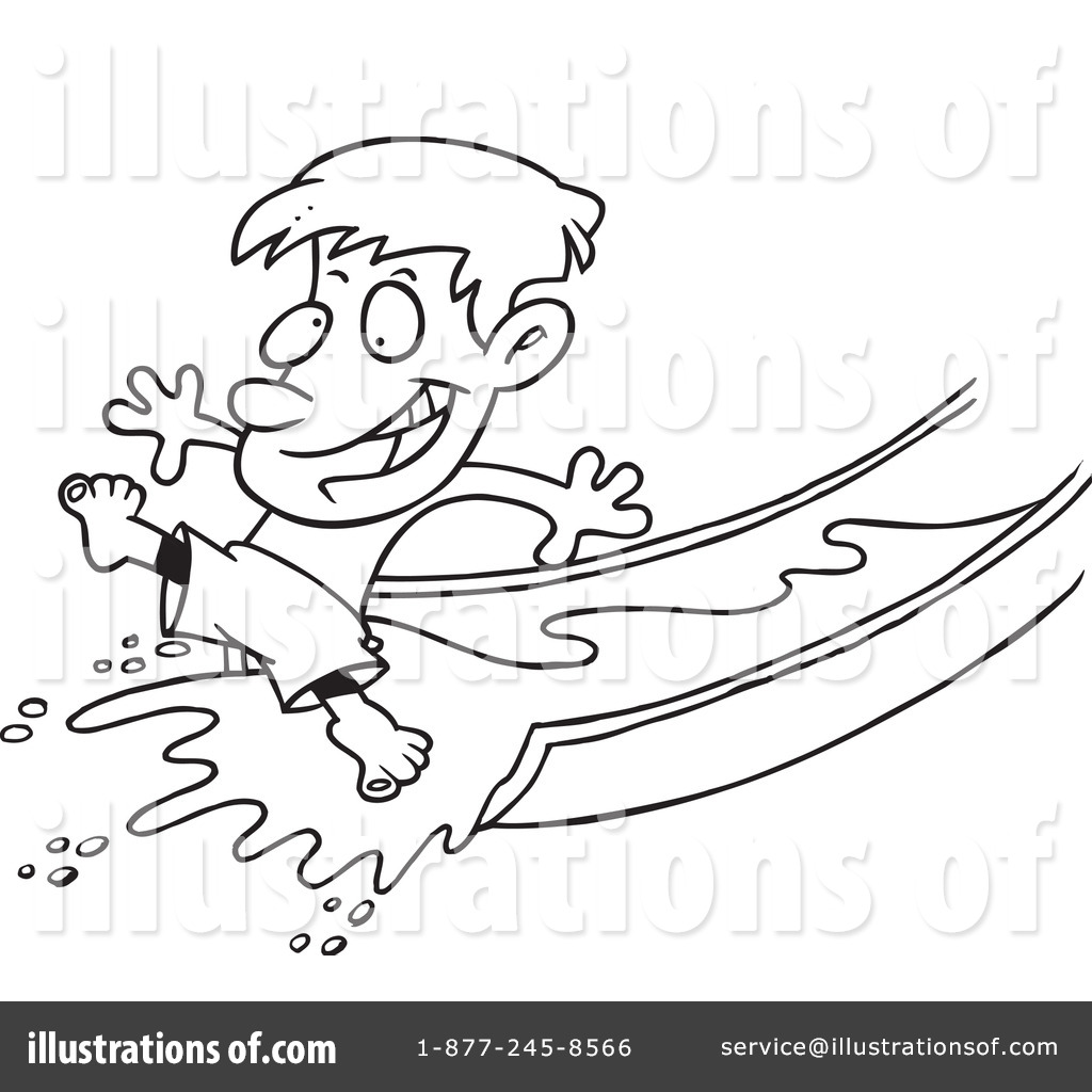 Water Slide Clipart Black And White Royalty Free  Rf  Boy Clipart