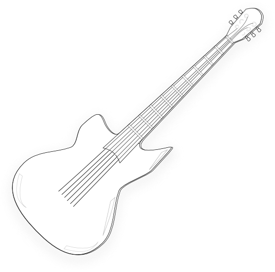 Wooden Guitar Black White Line Art Christmas Xmas Music Svg Inkscape