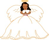 African American Angels Clip Art Gold Outlined Angel