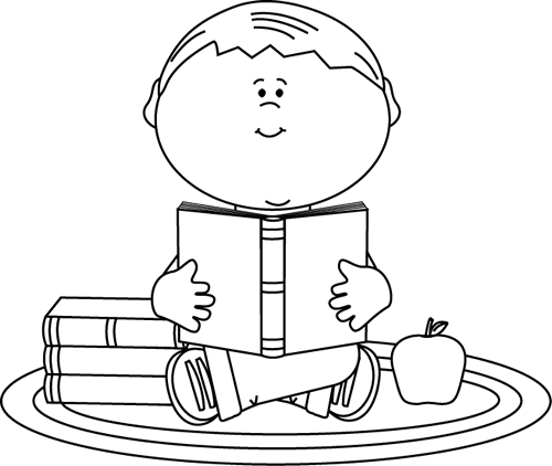 Black And White Boy Reading A School Book Clip Art   Black And White