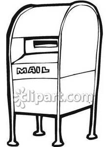 Black And White Drop Off Mailbox Royalty Free Clipart Picture 090116