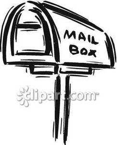 Black And White Mailbox   Royalty Free Clipart Picture