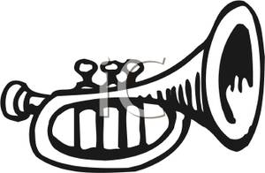 Black And White Trumpet   Royalty Free Clipart Picture