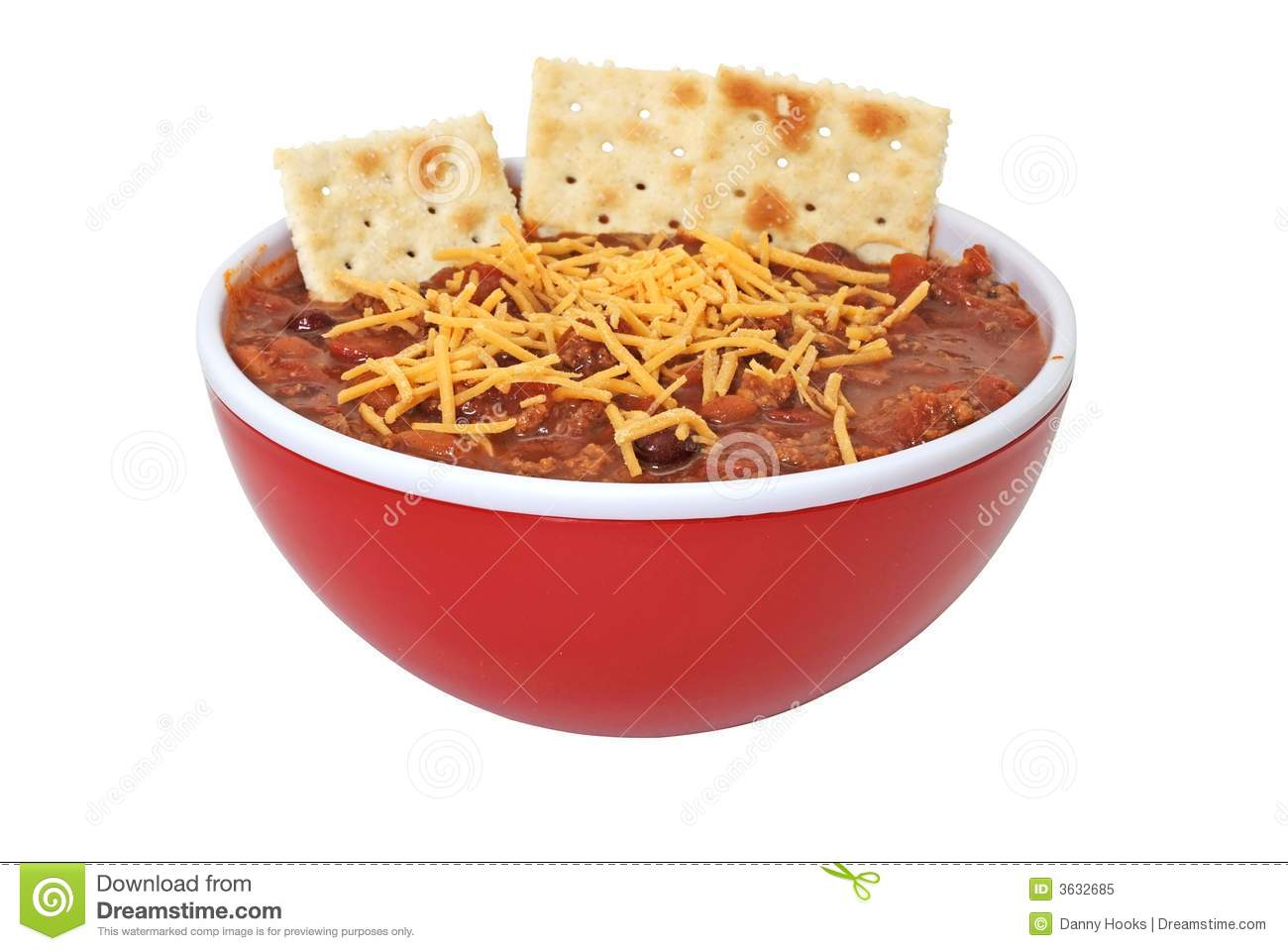 Bowl Of Hot Chili With Beans Cheese And Crackers  Isolated On White