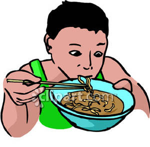 Boy Eating A Bowl Of Ramen Noodles   Royalty Free Clipart Picture