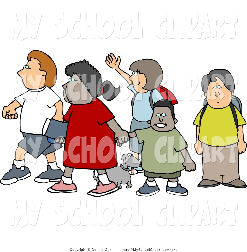 Clip Art Of A Group Of School Children And A Little Dog Crossing A