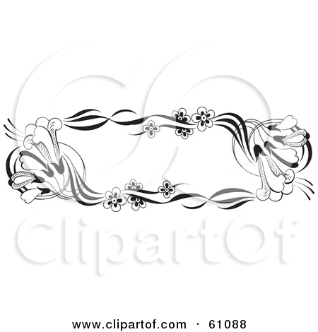 Clipart Illustration Of A Black And White Trumpet Flower Text Box Jpg