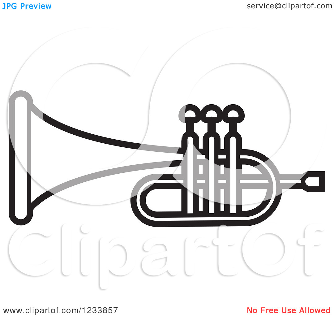 Clipart Of A Black And White Trumpet 2   Royalty Free Vector