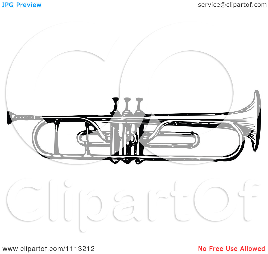 Clipart Vintage Black And White Trumpet   Royalty Free Vector