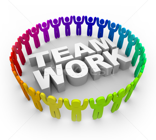 Colorful People Around Word Teamwork Stock Photo   Iqoncept   280822