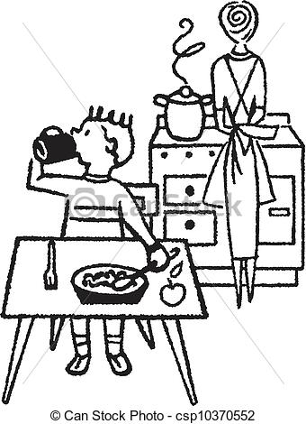 Dining Table Clipart Black And White Kitchen Clip Art Black And White