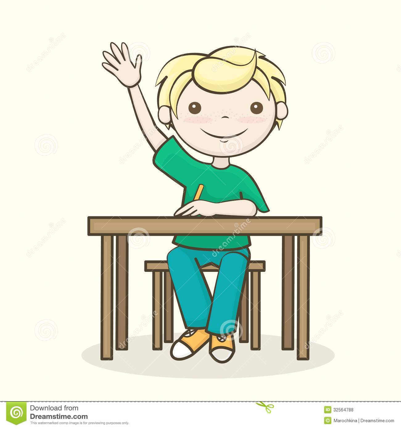 Good Student Sitting At Desk Clipart Student Raised His Hand