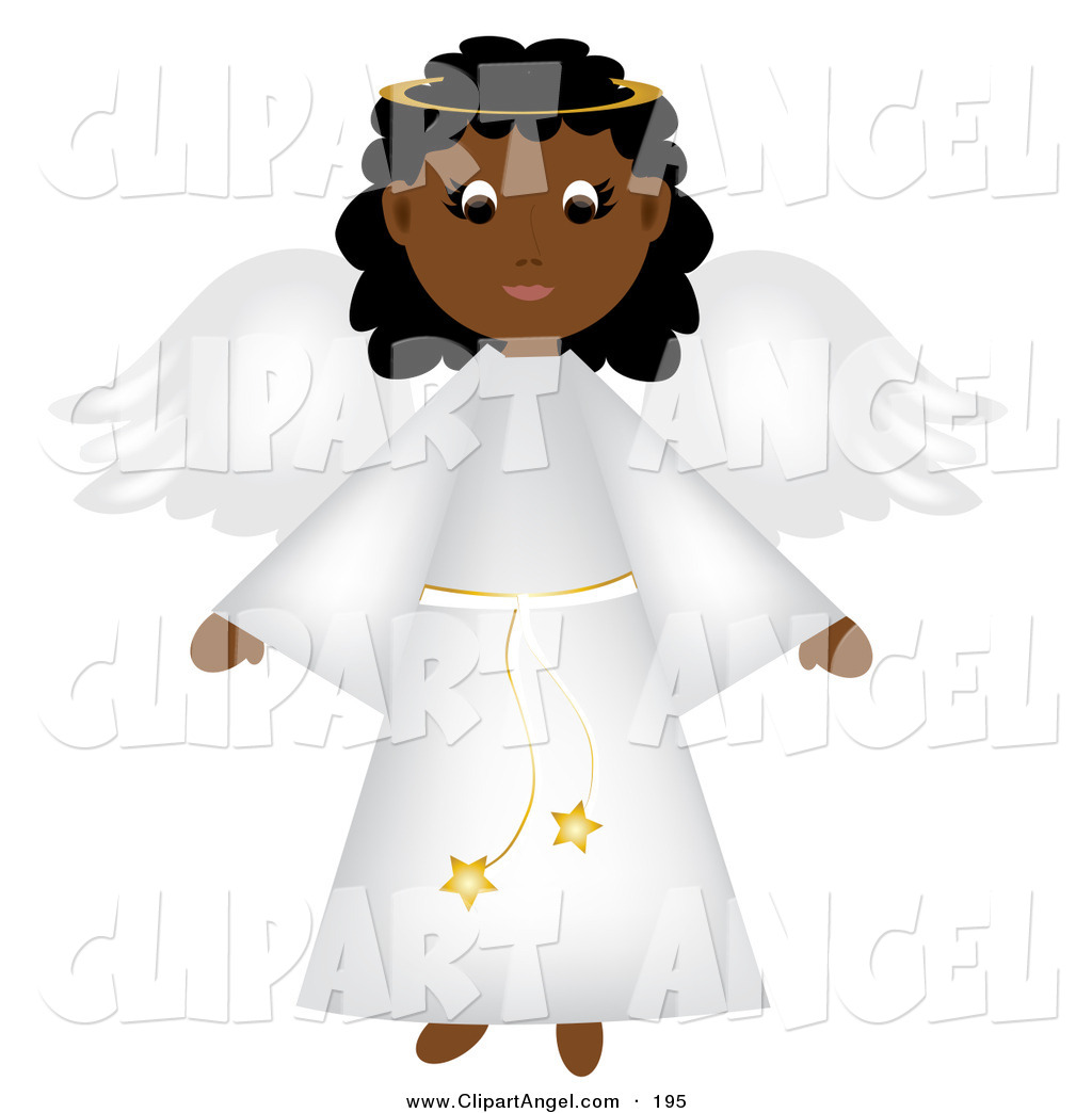 Illustration Vector Of An Cute Black Christmas Angel With Wings In A