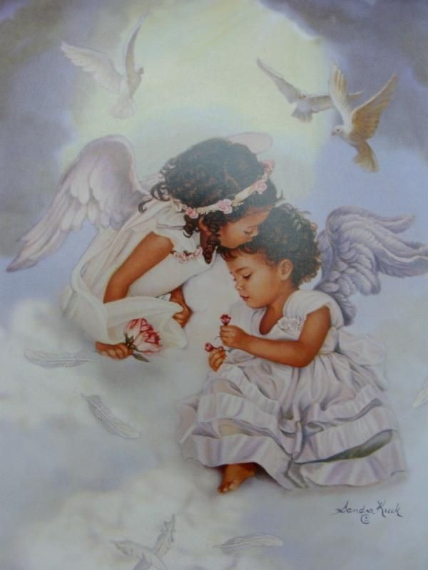 Sandra Kuck Sharing Love African American Angelic Girls Matted