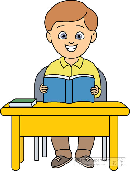 Student Sitting At Desk With Book Open Clipart 518   Classroom Clipart