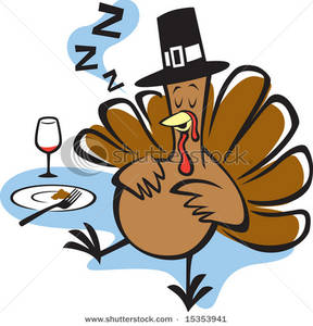Stuffed Turkey Sleeping After Thanksgiving Dinner Clipart Image