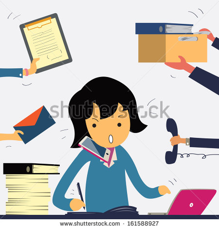 Very Busy Business Woman Working Hard On Her Desk In Office With A Lot