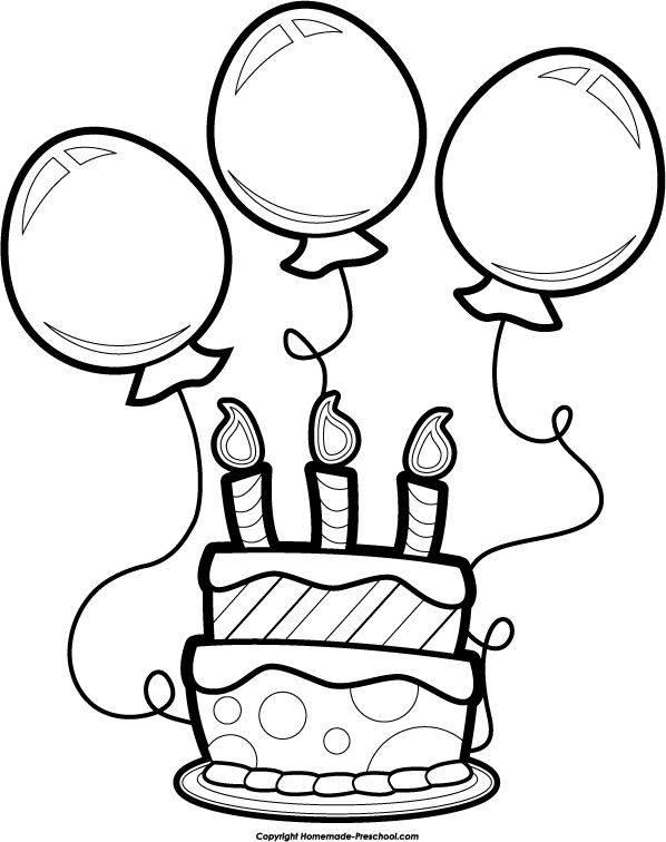 Black And White Birthday Clip Art   Clipart Best