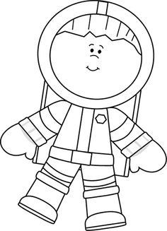 Astronaut Black And White Clipart - Clipart Kid
